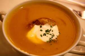 Butternut Squash Soup with Rose Harissa