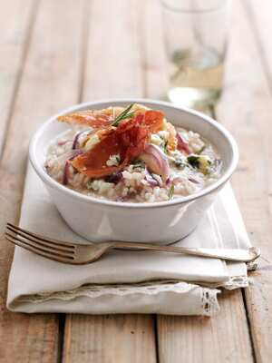Red onion and blue cheese risotto