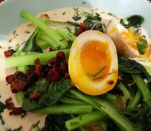 Tantan soup with ramen, pak choi and mad eggs