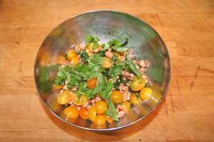 Fried basil, tomato and mixed bean salad