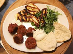 Beetroot falafel with toasted halloumi cheese