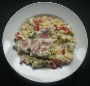 Gammon and vegetable pasta in mustard sauce (TM)