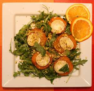 Roast apricots goats cheese salad with pistachios