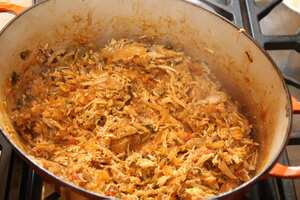 Pulled chicken - after reducing the sauce and adding back the shredded ...